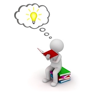 22106808 - 3d man sitting and reading a book with idea bulb in thought bubble isolated over white background